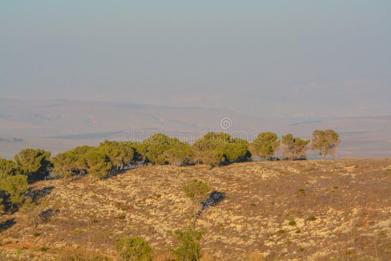 Vista desde la reserva natural de Giv'at Hamo`re Cerca de Afula, Israel en Asia Occidental fotos de archivo libres de regalías