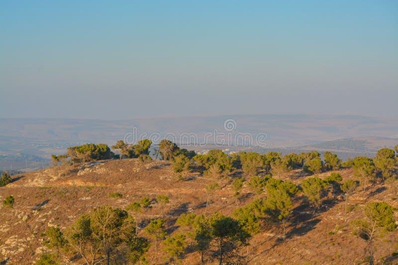 Vista desde la reserva natural de Giv'at Hamo`re Cerca de Afula, Israel en Asia Occidental fotografía de archivo