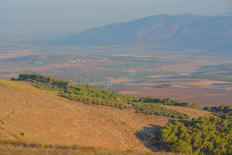 Vista desde la reserva natural de Giv'at Hamo`re Cerca de Afula, Israel en Asia Occidental foto de archivo