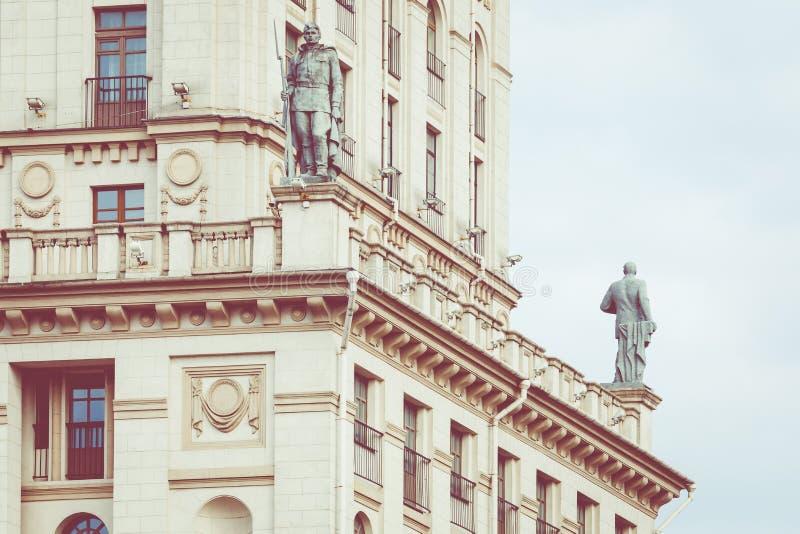 Vista detallada de las puertas de Minsk Herencia soviética Lan famoso foto de archivo libre de regalías