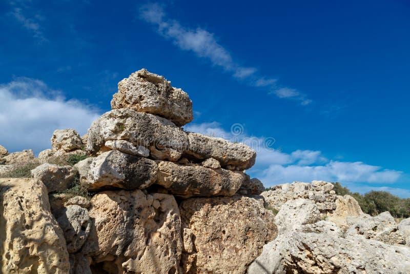 Vista dettagliata del tempio di Ggantija immagine stock libera da diritti