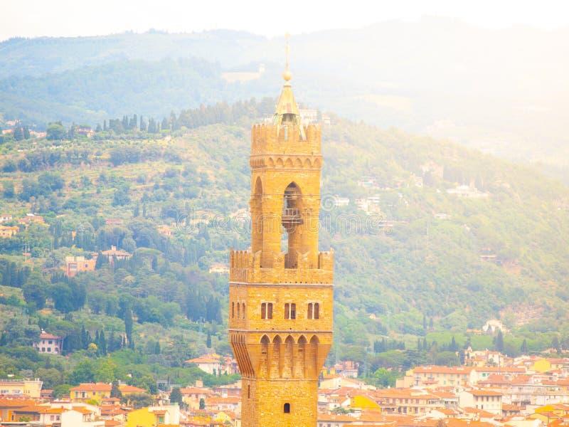 Vista dettagliata della torre della città Hall Palazzo Vecchio, o della Signoria, Firenze, Italia di Palazzo fotografia stock