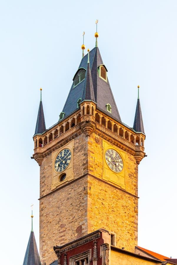 Vista dettagliata di Città Vecchia Hall Tower, quadrato di Città Vecchia, Praga, repubblica Ceca immagine stock