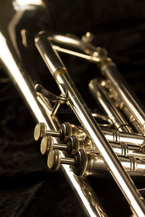 Vista dettagliata di una tromba dorata con tre bottoni del dito fotografia stock libera da diritti