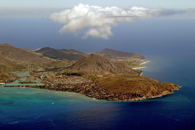 Vista di Aereal dell'Hawai immagine stock