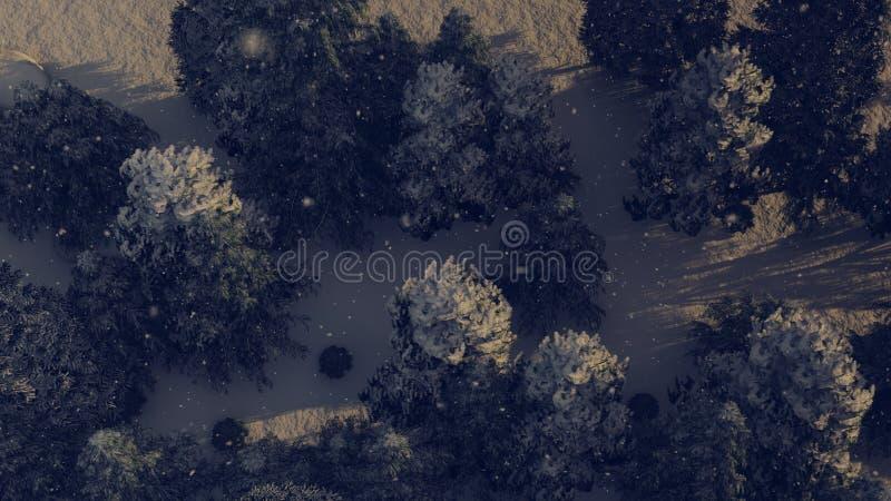 Vista di Aereal di una foresta di nevicata a natale immagine stock