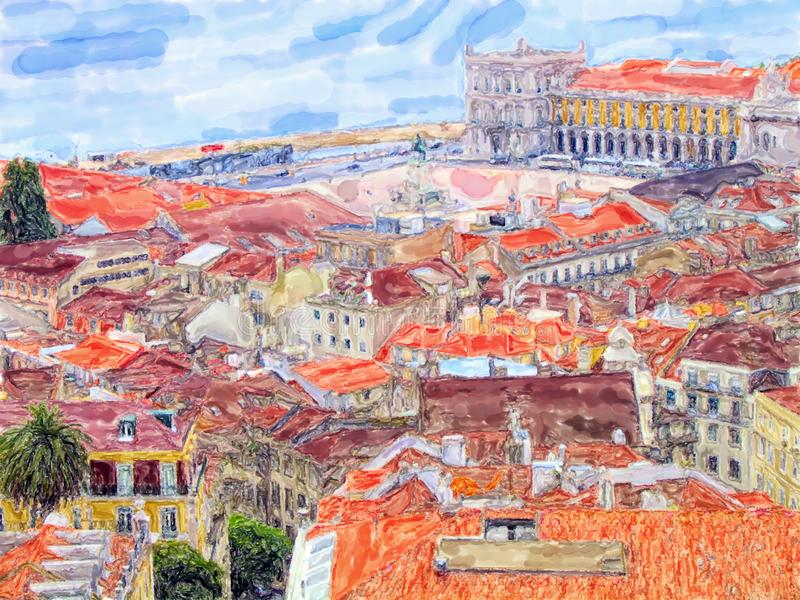 Vista di Aeria sopra la capitale di Lisbona del Portogallo illustrazione di colore dell'acqua fotografia stock