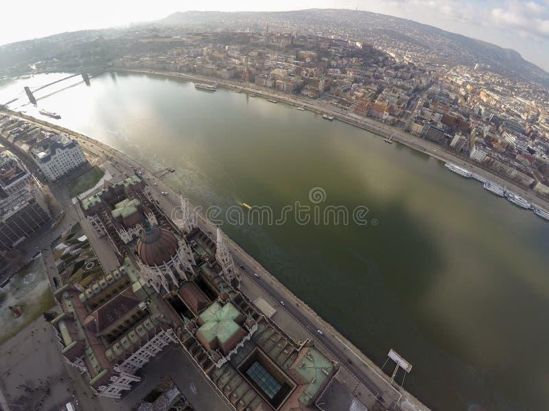 Vista di Aerival sul fiume Danubio immagine stock