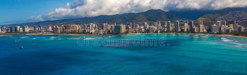 Vista di Aieial di Waikiki Hawai fotografia stock libera da diritti