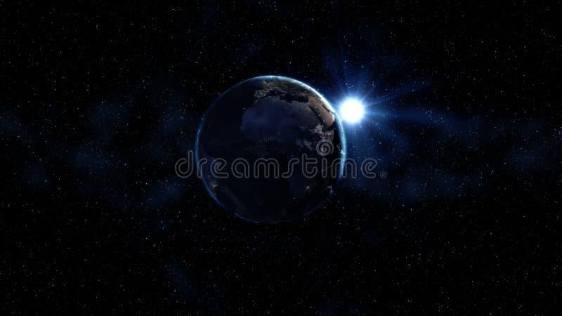 Vista di alba da spazio su pianeta Terra Zona del Sudamerica Mondo in universo nero in stelle Alti 3D dettagliati rendono l'anima fotografia stock libera da diritti