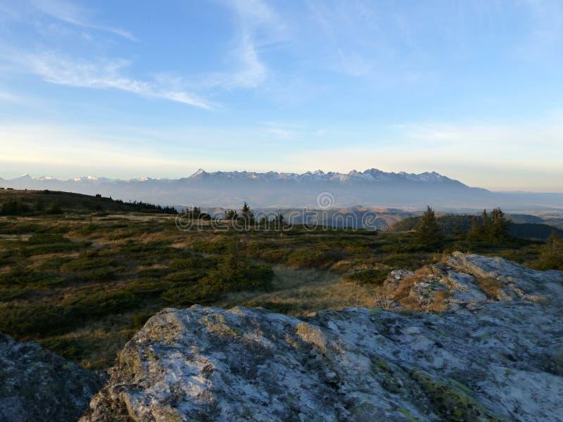 Vista di alto Tatras con i picchi nevosi, parco nazionale basso di Tatras, Slovacchia immagini stock