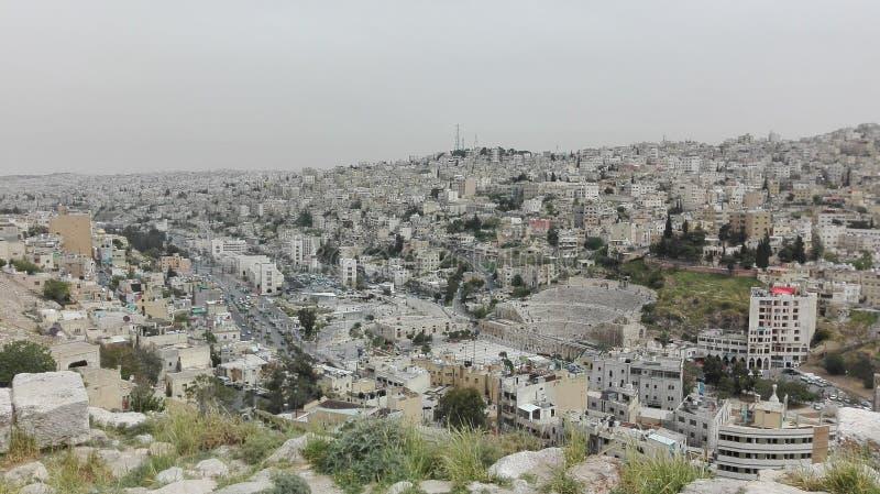 Vista di Amman dalla vecchia cittadella immagine stock libera da diritti