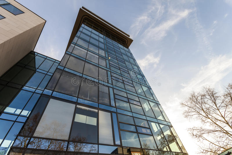 Vista di angolo basso della riflessione di cielo blu in parete di vetro di moderno immagine stock libera da diritti
