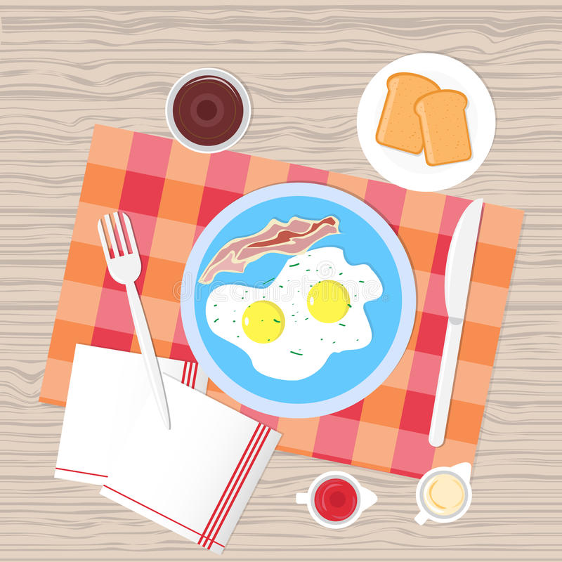 Vista di angolo superiore dell'alimento della Tabella di prima colazione royalty illustrazione gratis