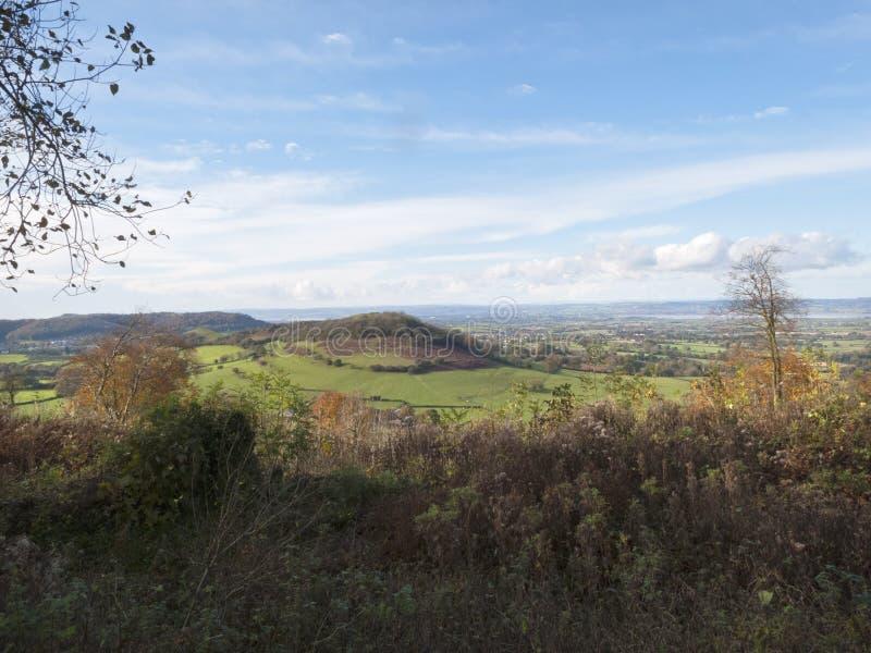 Vista di autunno, fossa di Uley, Cotswolds, Gloucestershire, Regno Unito immagine stock libera da diritti