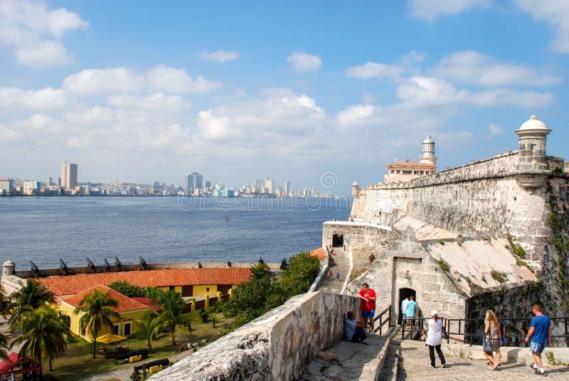 Vista di Avana dalla fortezza di EL Morro immagine stock libera da diritti