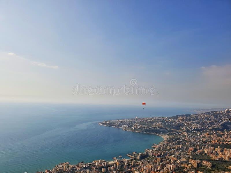 Vista di Beirut Libano della montagna di vista del cielo fotografia stock