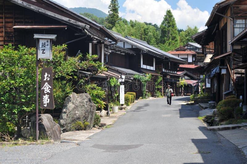 Vista di belle case di legno di Tsumago-Juku nel Giappone fotografia stock libera da diritti