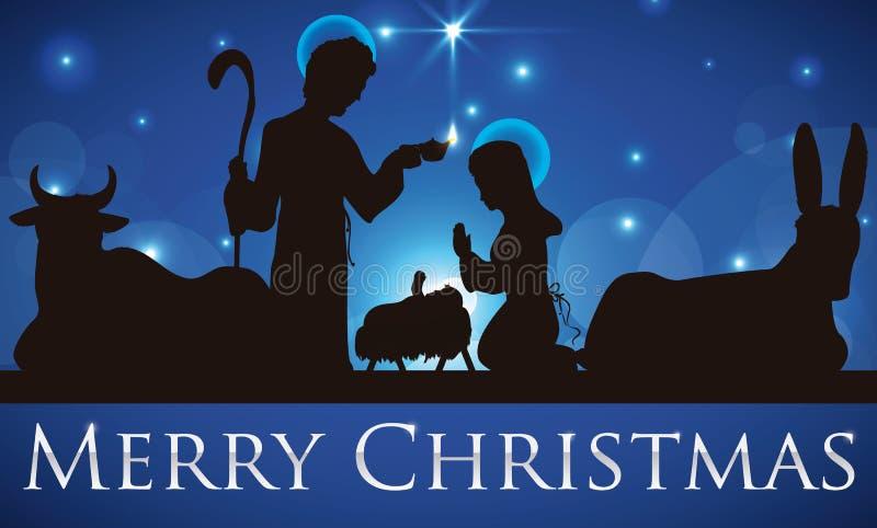 Vista di bellezza della siluetta santa della famiglia vi che augura il Buon Natale, illustrazione di vettore royalty illustrazione gratis