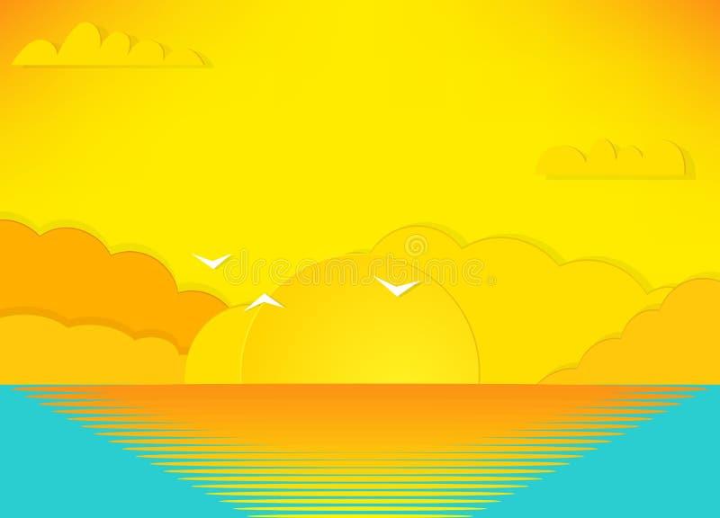vista di bello tramonto sopra il mare royalty illustrazione gratis