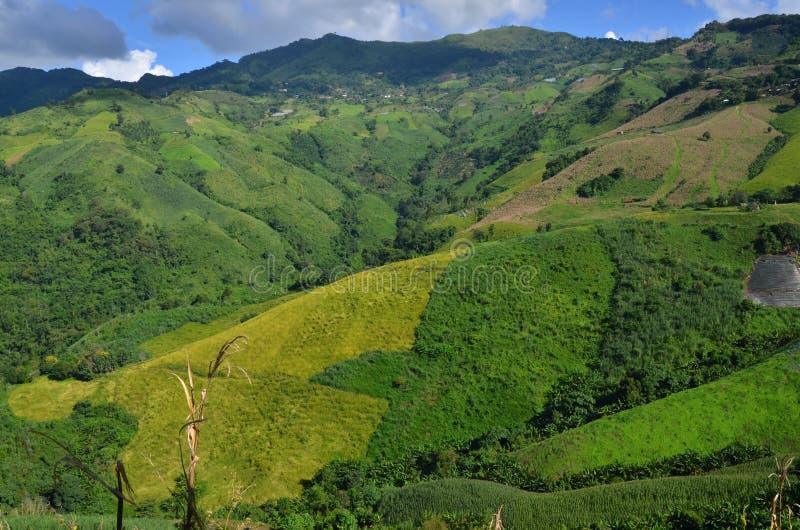 Vista di Birdseye di belle montagne nell'inverno della Tailandia immagine stock