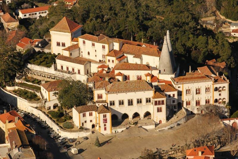 Vista di Birdseye del palazzo nazionale. Sintra. Il Portogallo fotografia stock libera da diritti