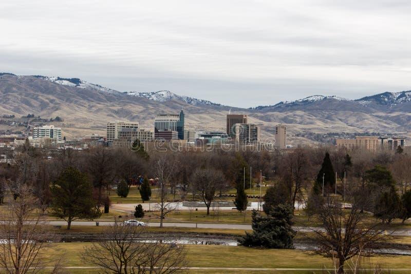 Vista di Boise del centro dall'altro lato di Kathryn Albertson Park fotografia stock