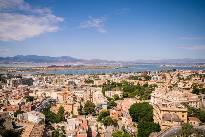 Vista di Cagliari, Sardegna, Italia immagine stock