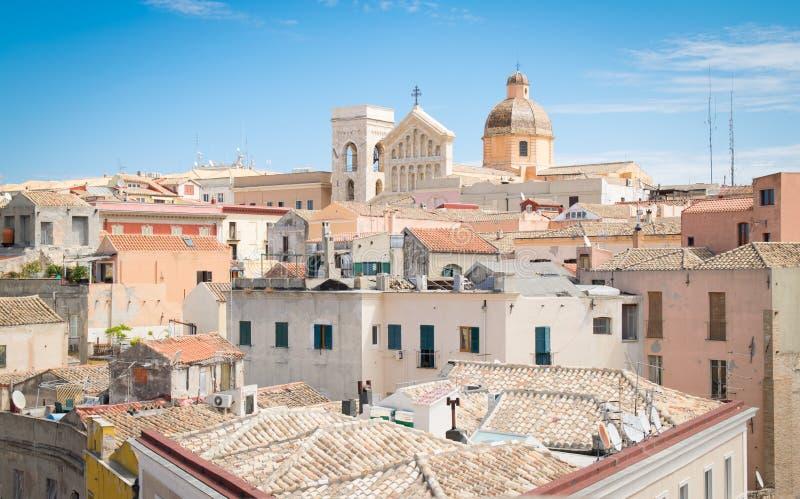 Vista di Cagliari, Sardegna, Italia immagine stock libera da diritti
