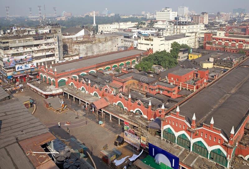 Vista di Calcutta e del nuovo mercato, Calcutta, India immagini stock libere da diritti