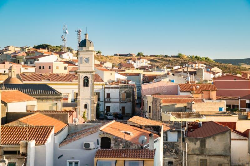 Vista di Carloforte, San Pietro Island, Sardegna, Italia fotografia stock libera da diritti