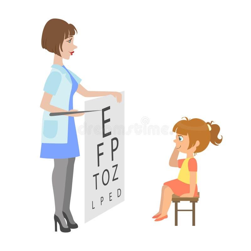 Vista di Checking Little Girl dell'oftalmologo, parte dei bambini che prendono le serie dell'esame di salute di illustrazioni illustrazione di stock