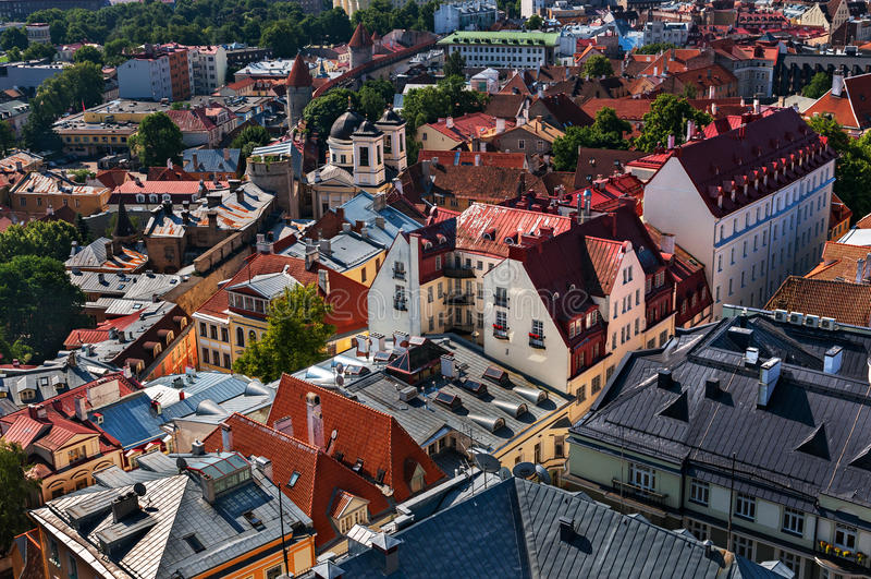Vista di Città Vecchia di Tallinn dalla torre di chiesa del ` s della st Olaf Tallinn, Estonia immagine stock