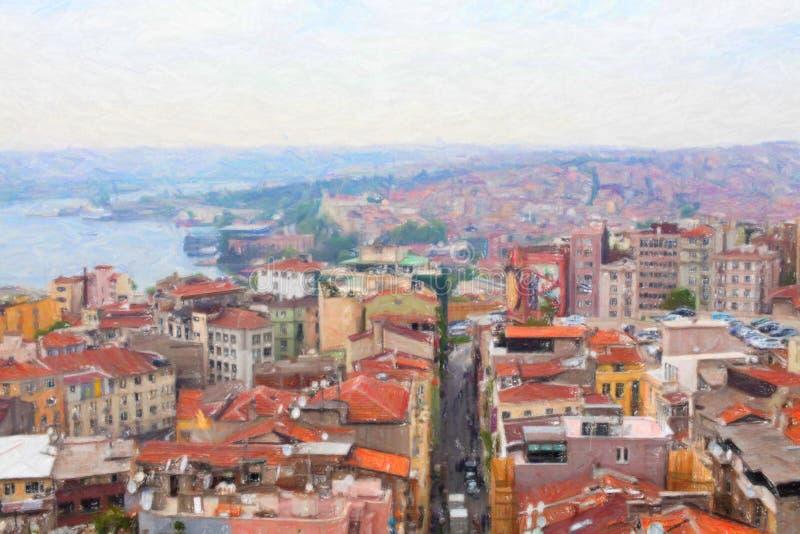Vista di Costantinopoli dalla torre di Galata fotografie stock libere da diritti