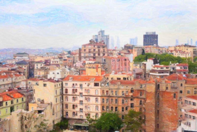 Vista di Costantinopoli dalla torre di Galata fotografia stock libera da diritti