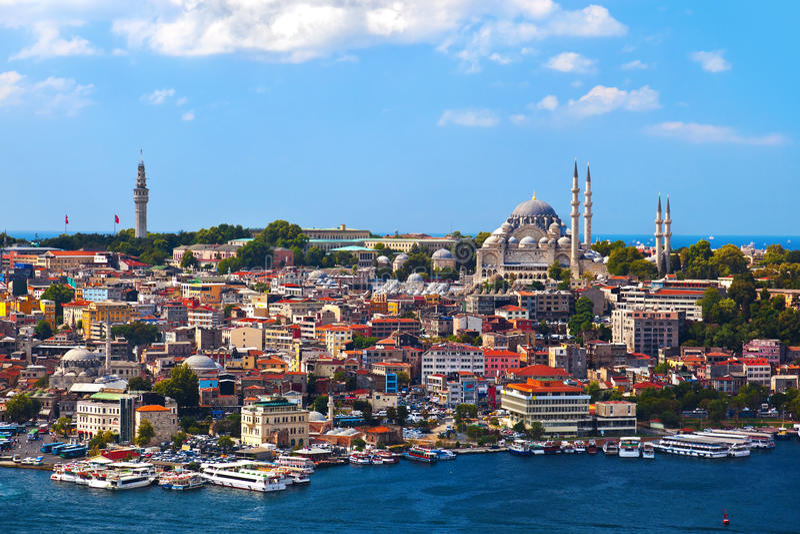 Vista di Costantinopoli Turchia fotografia stock libera da diritti