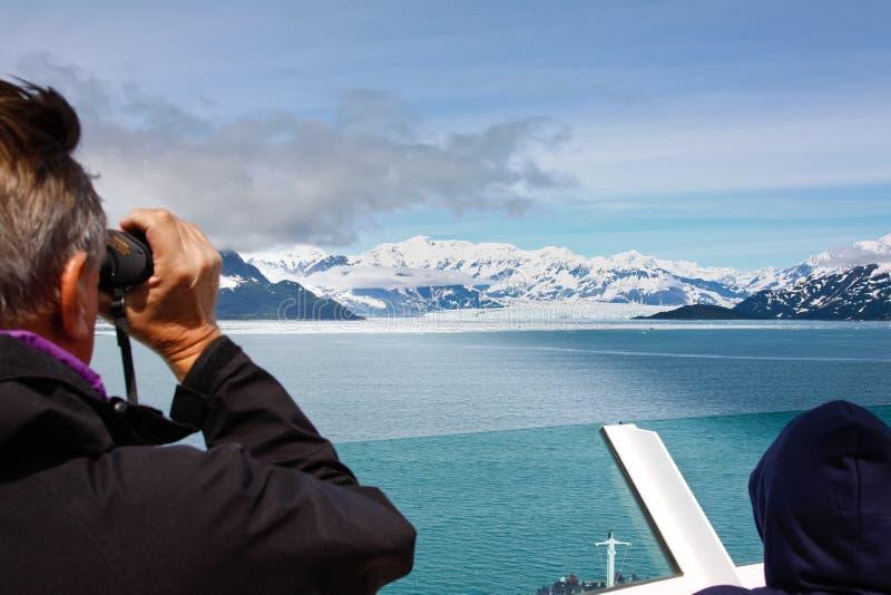Vista di crociera dell'Alaska migliore del ghiacciaio di Hubbard fotografie stock libere da diritti