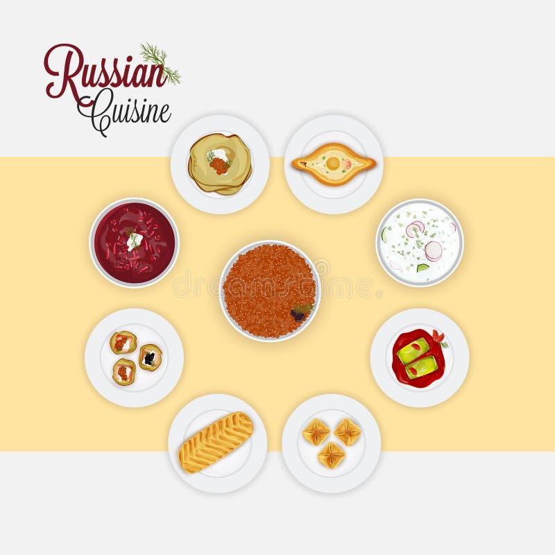 Vista di cucina russa illustrazione vettoriale
