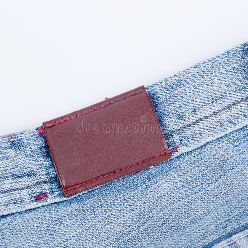 Vista di cuoio vuota del contrassegno dei jeans immagine stock