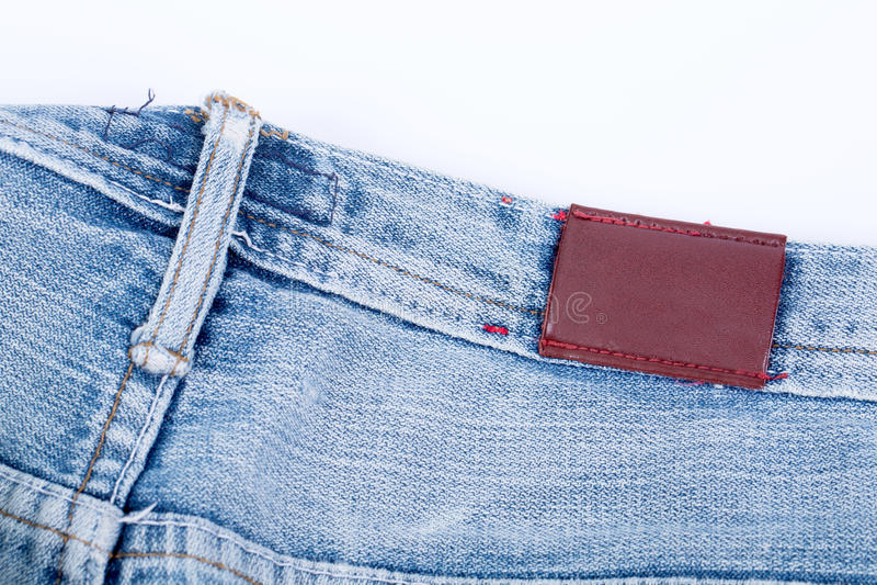 Vista di cuoio vuota del contrassegno dei jeans fotografia stock libera da diritti