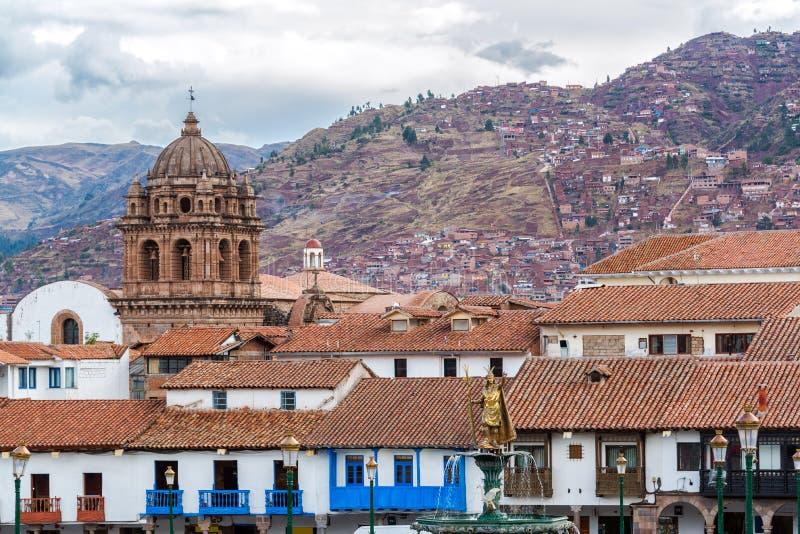 Vista di Cuzco centrale, Perù immagini stock