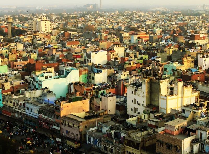 Vista di Delhi da Jama Masjid fotografia stock libera da diritti