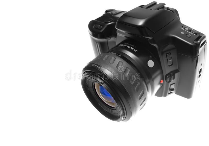 Vista di destra superiore della macchina fotografica di SLR immagini stock