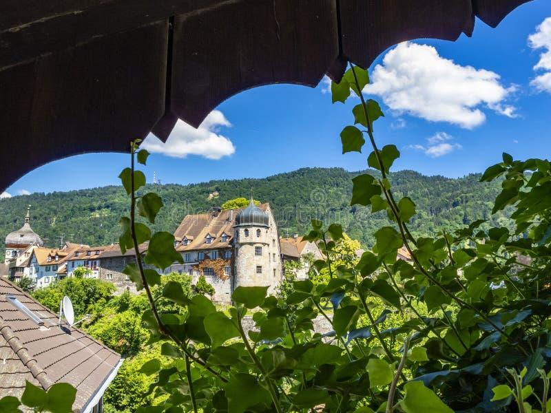 Vista di Deuring-Schloessle o di Carolenhof in Bregenz, torre dell'Austria, St Martin nei precedenti immagini stock libere da diritti