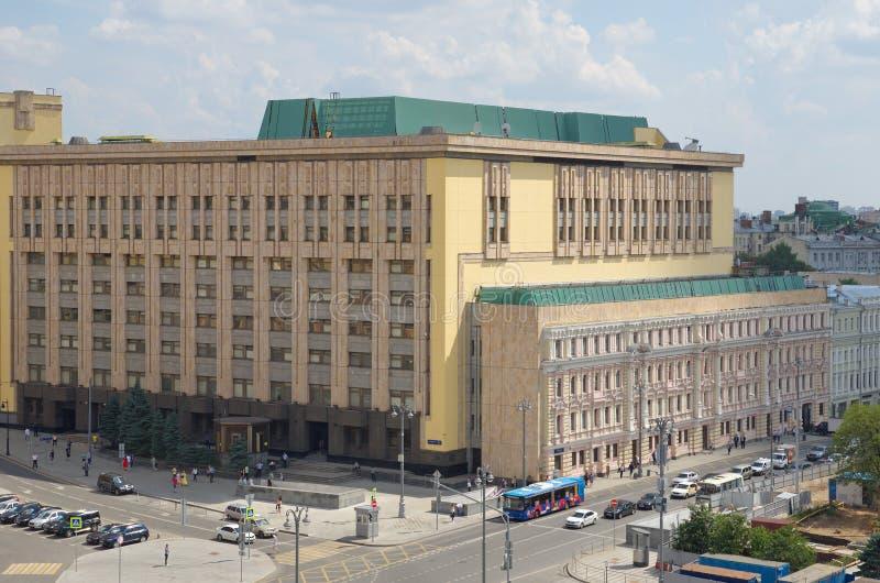 Vista di estate del quadrato di Lubyanskaya a Mosca, Russia fotografia stock libera da diritti