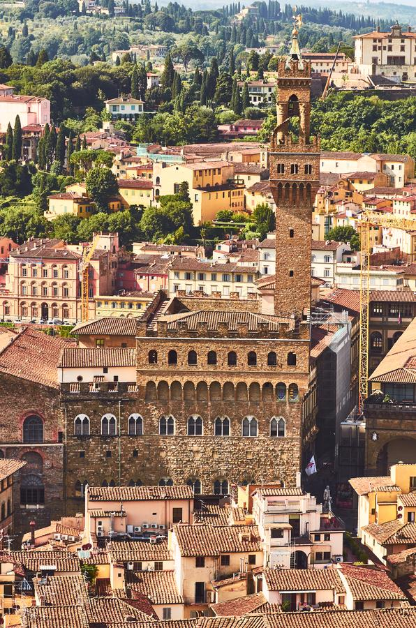 Vista di Firenze con il vecchio di palazzo il vecchio palazzo Toscana Italia fotografia stock libera da diritti