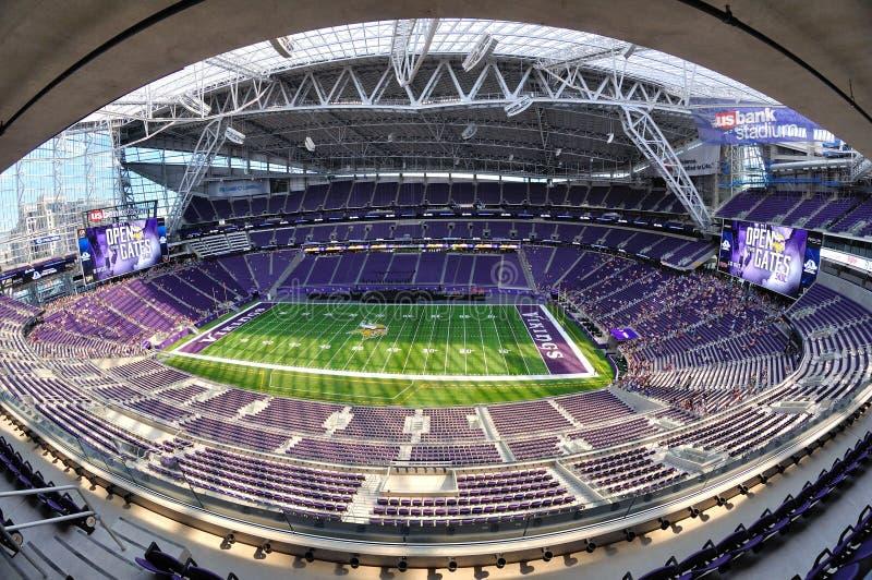 Vista di Fisheye dello stadio della Banca degli Stati Uniti di Minnesota Vikings a Minneapolis fotografia stock