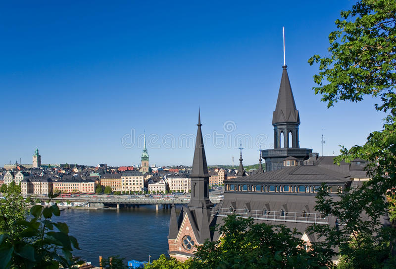 Vista di Gamla Stan da Sodermalm, Stoccolma fotografia stock libera da diritti