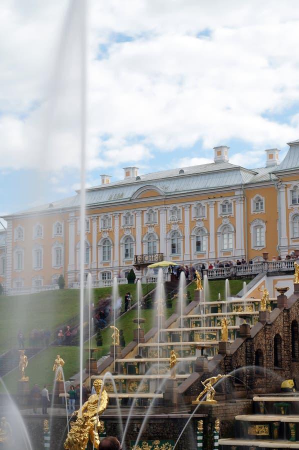 Vista di grande cascata in Petrodvorets - un sobborgo della fontana di St Petersburg in Russia immagini stock
