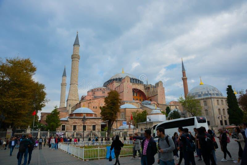Vista di Hagia Sophia, basilica patriarcale cristiana, moschea imperiale ed ora un museo Costantinopoli, Turchia immagini stock libere da diritti